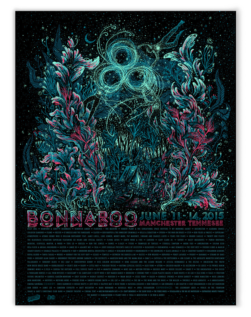 """Bonnaroo 2015 Festival"" by James R Eads.  18"" x 24"" 4-color Screenprint. AP edition of 50 S/N.  $40"