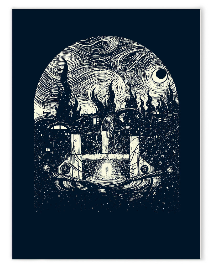 """""""Past Life Portals"""" by James R Eads.  18"""" x 24"""" Screenprint.  Ed of 40 S/N.  $20"""