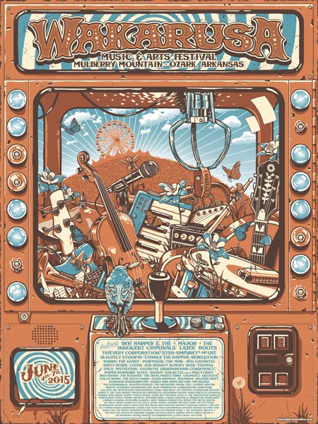 """Wakarusa 2015"" by Darin Shock.  18"" x 24"" 4-color Screenprint.  Artist Edition of 27 S/N.  $30"