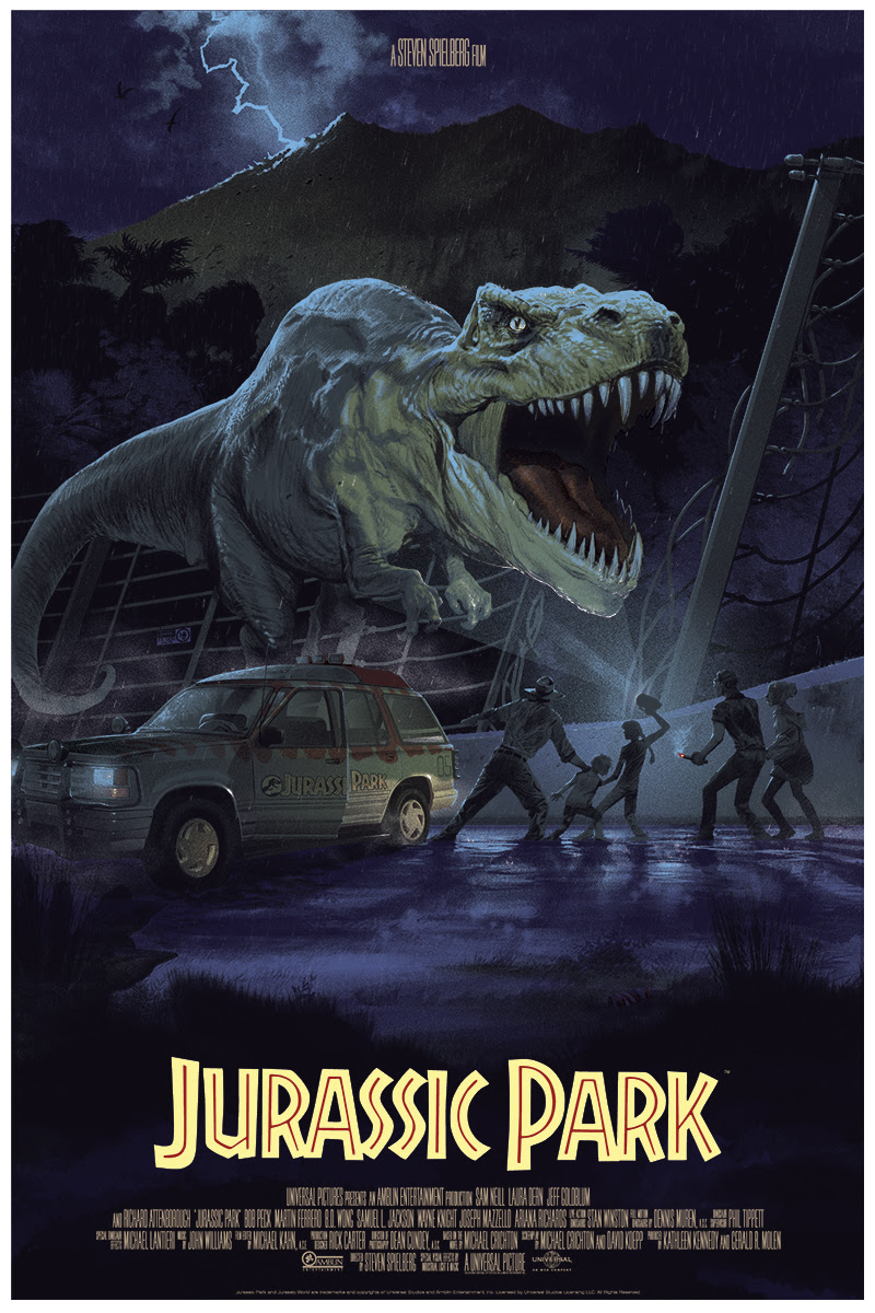 "Jurassic Park by Stan & Vince. 24""x36"" screen print. Hand numbered. Edition of 375. Printed by D&L Screenprinting. $50"