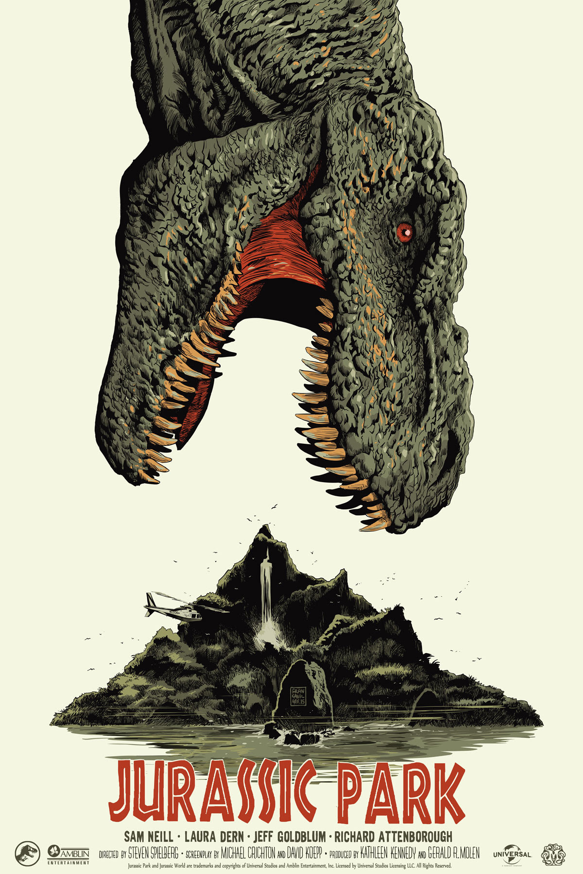 "Jurassic Park by Francesco Francavilla. 24""x36"" screen print. Hand numbered. Edition of 400. Printed by D&L Screenprinting. $55"