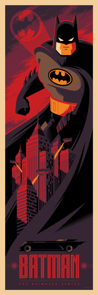 "Batman: The Animated Series by Tom Whalen. 12""x36"" screen print. Signed & Hand numbered. Edition of 275. Printed by D&L Screenprinting. $45"