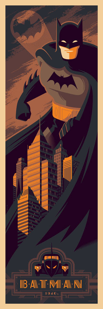 "Batman (1940s) by Tom Whalen. 12""x36"" screen print. Hand numbered. Edition of 275. Printed by D&L Screenprinting. $45"