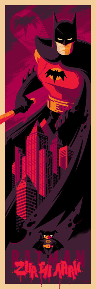 "Batman (Zur En Arrh) by Tom Whalen. 12""x36"" screen print. Signed & Hand numbered. Edition of 150. Printed by D&L Screenprinting. $45"