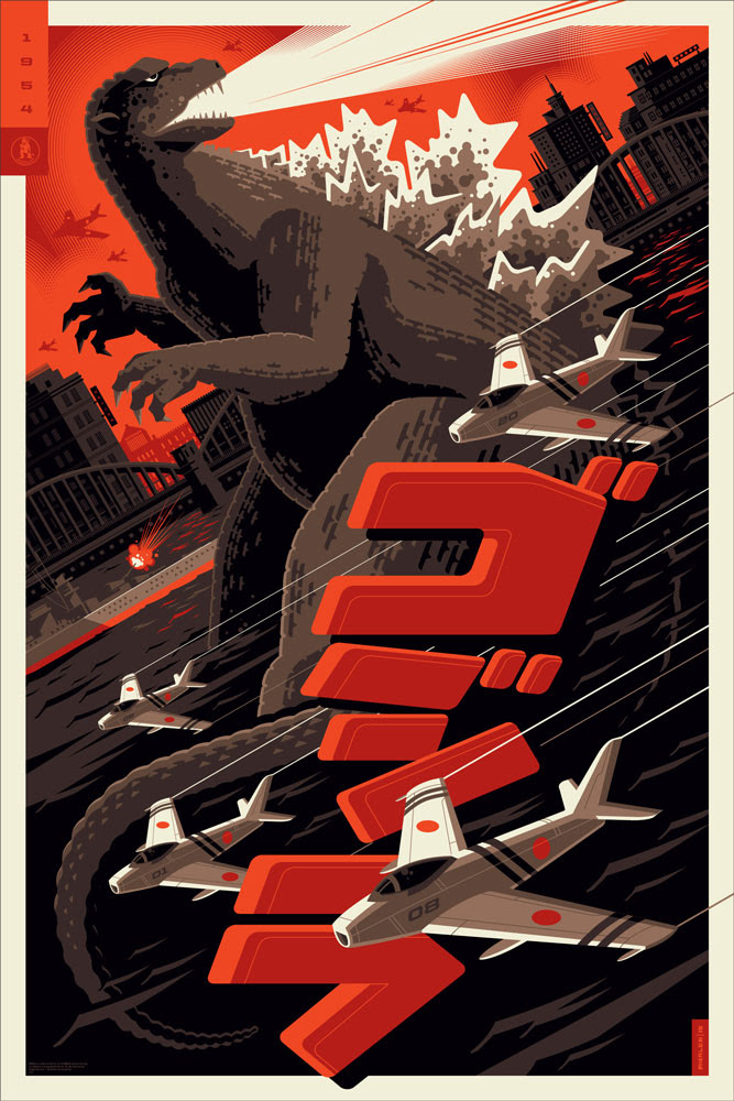 "Godzilla by Tom Whalen. 24""x36"" screen print. Signed & Hand numbered. Edition of 250. Printed by D&L Screenprinting. $50"