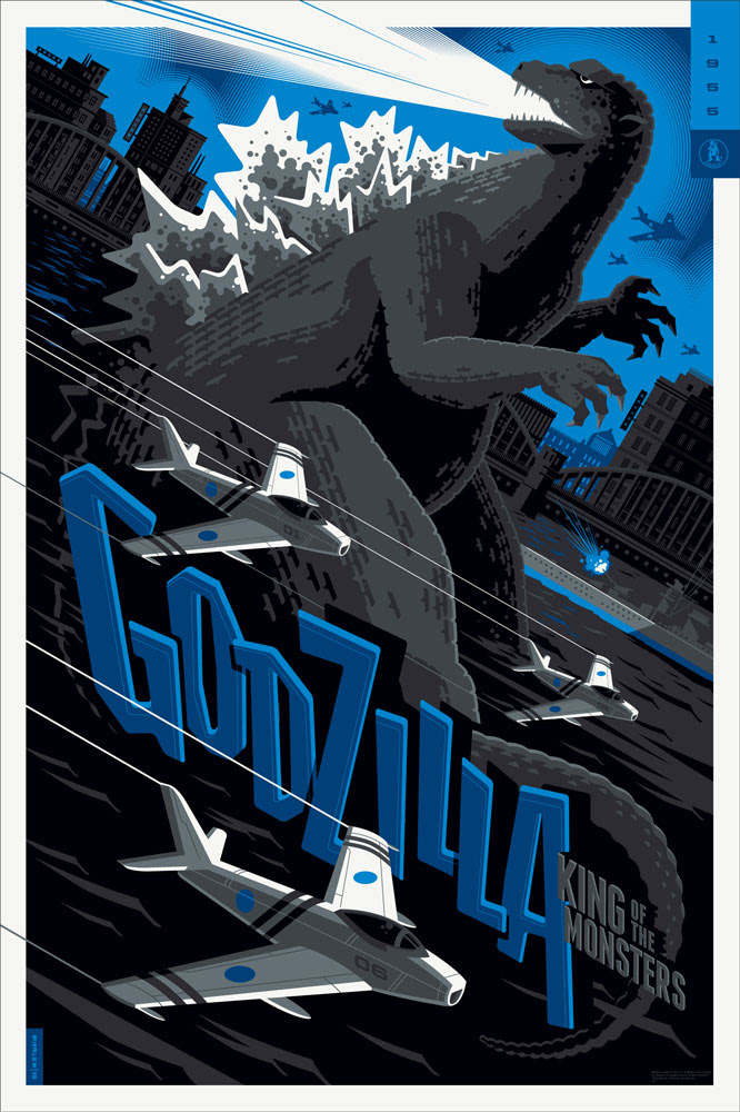"Godzilla (Variant) by Tom Whalen. 24""x36"" screen print. Signed & Hand numbered. Edition of 125. Printed by D&L Screenprinting. $75"