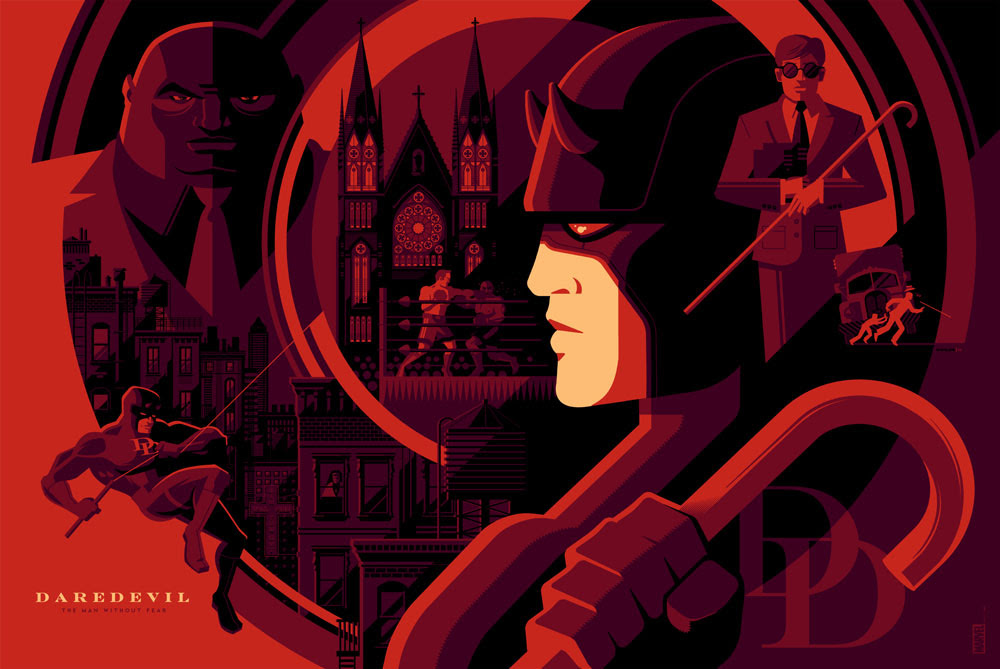 "Daredevil by Tom Whalen. 36""x24"" screen print. Signed & Hand numbered. Edition of 275. Printed by D&L Screenprinting. $50"