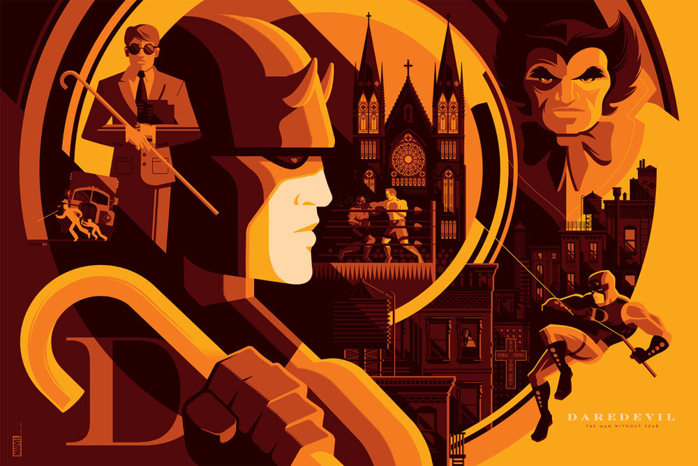 "Daredevil (Variant) by Tom Whalen. 36""x24"" screen print. Signed & Hand numbered. Edition of 125. Printed by D&L Screenprinting. $75"