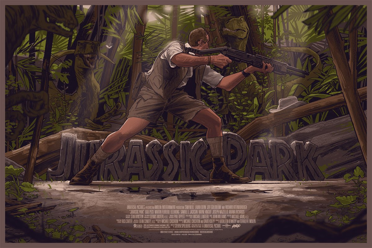 "Jurassic Park by Rich Kelly. 36""x24"" screen print. Hand numbered. Edition of 325. Printed by D&L Screenprinting. $50"