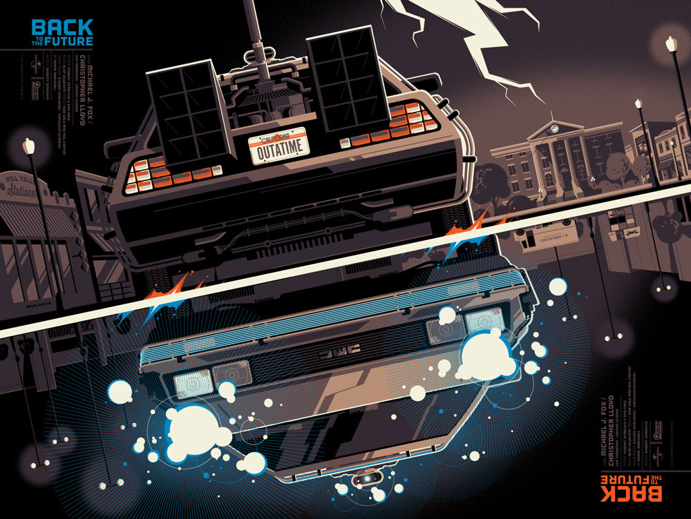 """Back to the Future by Tom Whalen. 24""""x18"""" screen print. Hand numbered (Note: this print is not signed). Edition of 325. Printed by D&L Screenprinting. $45"""