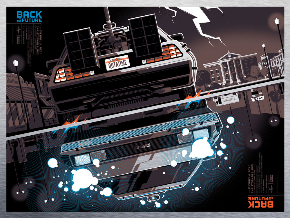"""Back to the Future (Metal Variant) by Tom Whalen. 24""""x18"""" screen print. Signed & Hand numbered. Edition of 90. Printed by D&L Screenprinting. $250"""
