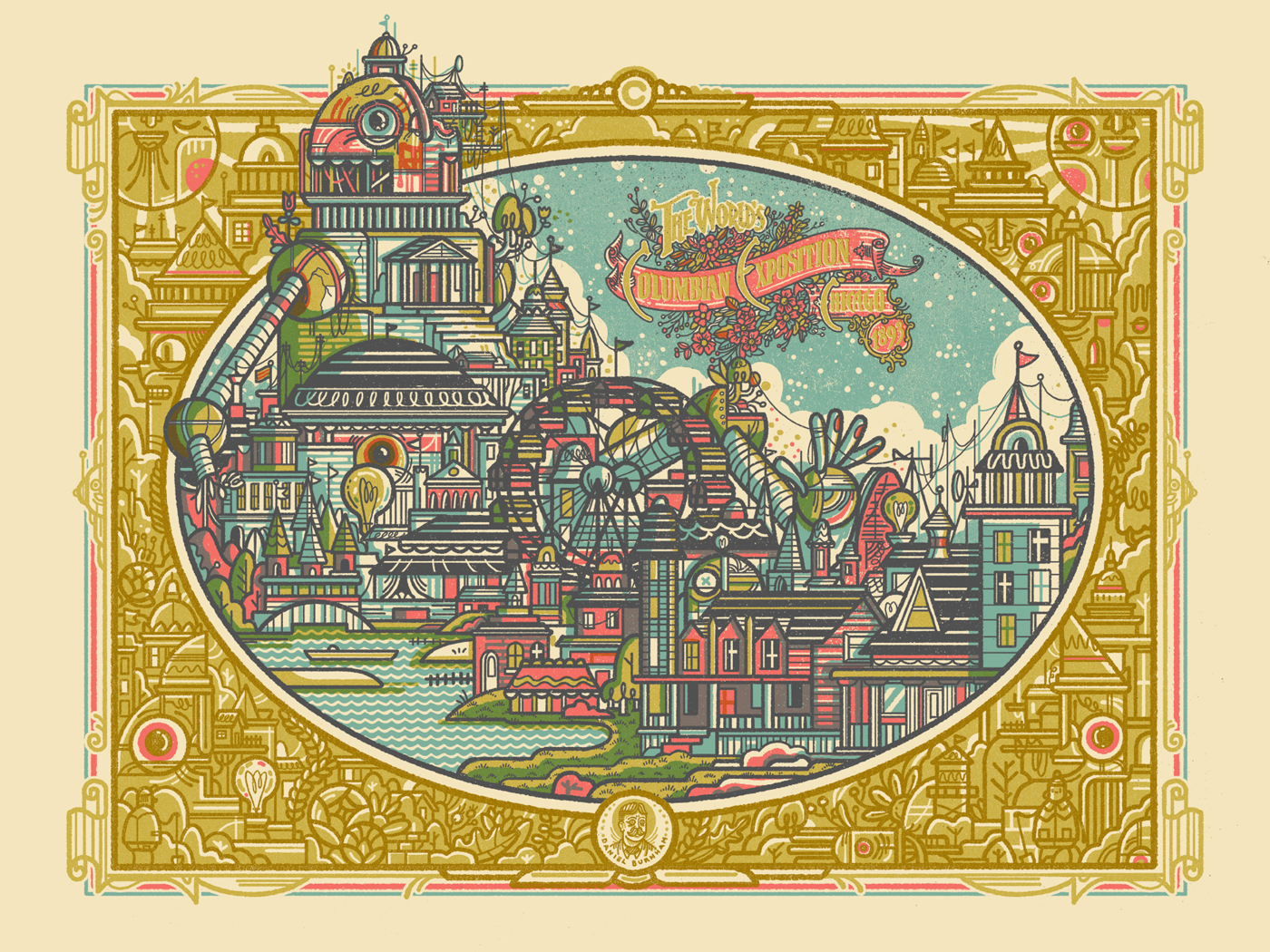 """Chicago Columbian Exposition"" by Drew Millward.  18"" x 24"" Screenprint.  Ed of 100 N.  $45"