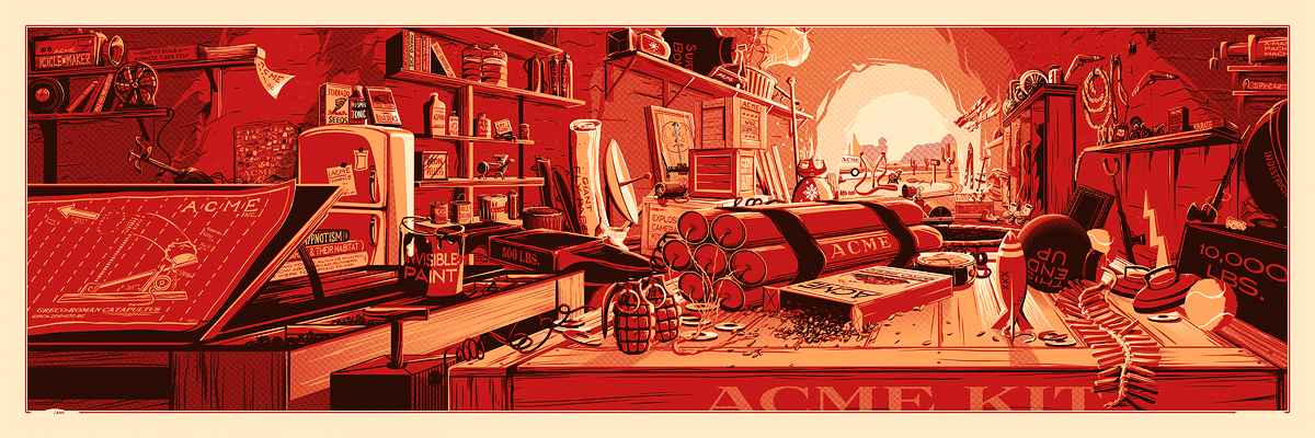 """The Desk of Mr. Coyote"" by Rob Loukotka.  12"" x 36"" 3-color Screenprint.  Ed of 450 S/N.  $45"