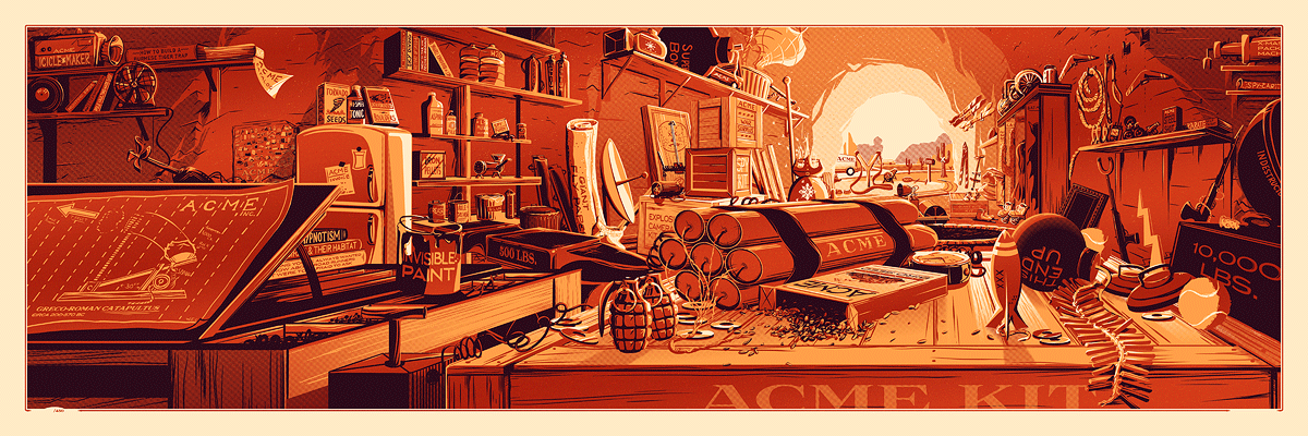 """The Desk of Mr. Coyote"" by Rob Loukotka.  12"" x 36"" 3-color Screenprint.  Ed of 150 S/N.  $65 (metallic variant)"
