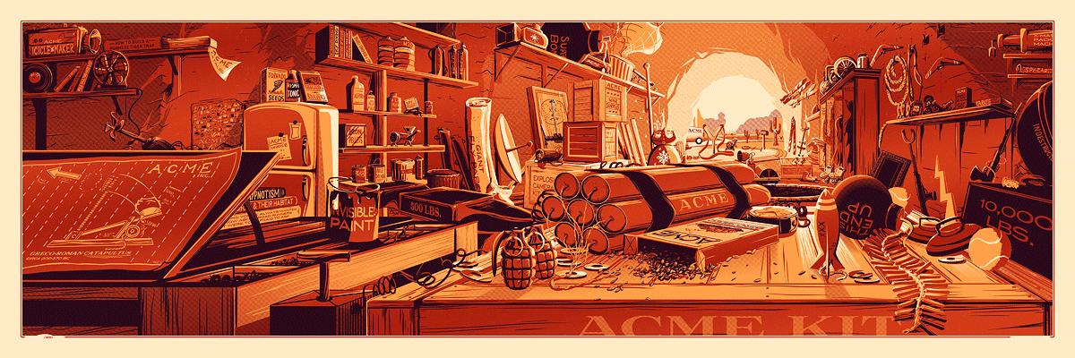 """The Desk of Mr. Coyote"" by Rob Loukotka.  12"" x 36"" 3-color Screenprint.  Ed of 150 S/N.  $65 (metallic variant)"