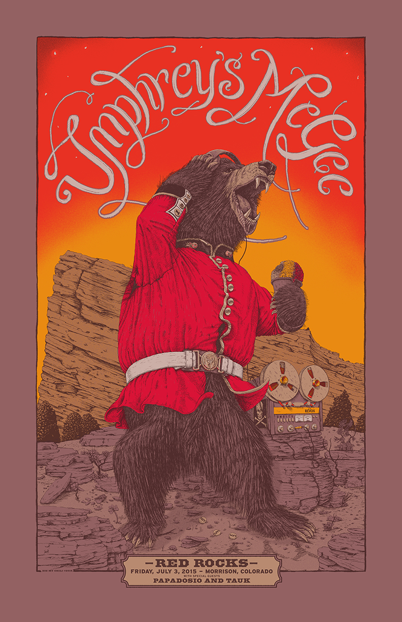 """Umphrey's McGee - Morrison, CO 2015"" by Dig My Chili.  22"" x 34"" 6-color Screenprint.  Ed of 150 N (50 signed).  $50 (variant)"