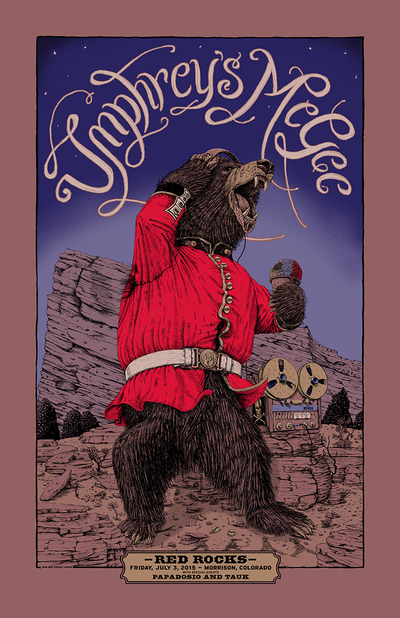 """Umphrey's McGee - Morrison, CO 2015"" by Dig My Chili.  22"" x 34"" 6-color Screenprint.  Ed of 400 N (50 signed)."