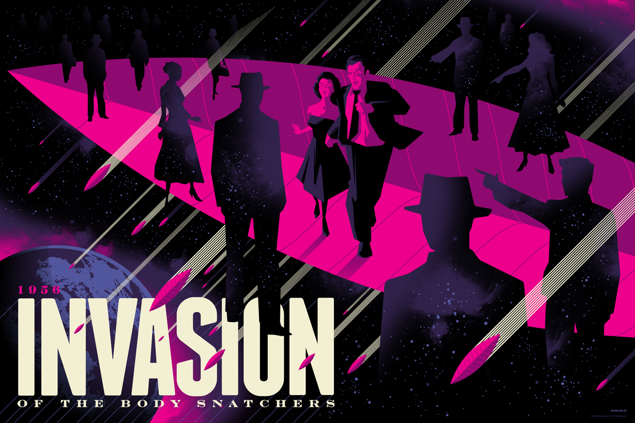 """Invasion of the Body Snatchers"" by Tom Whalen.  18"" x 24"" Screenprint.  Standard (Ed of 280, $65) : Foil (Ed of 10, $150)"