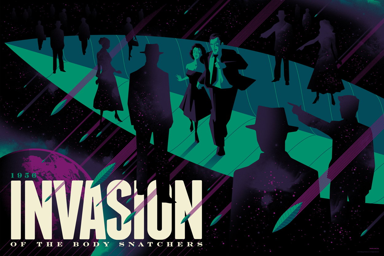 """Invasion of the Body Snatchers"" by Tom Whalen.  18"" x 24"" Screenprint.  Variant (Ed of 50, $100) : Foil (Ed of 10, $150)"