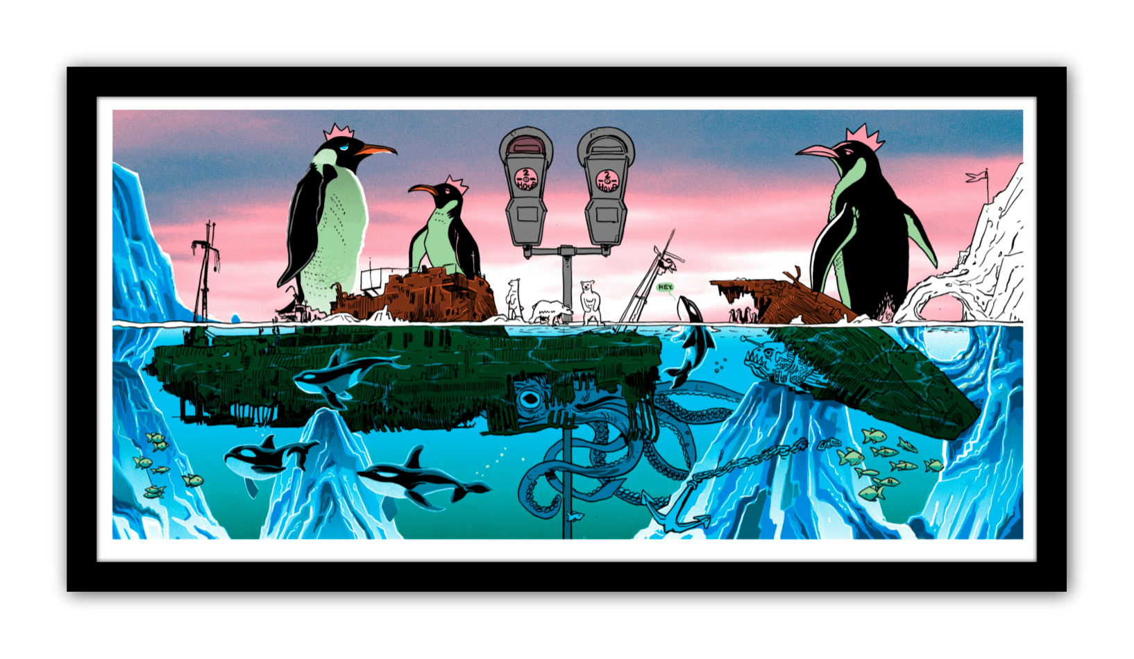 """Emperors of the North Watch the Clock"" by Tim Doyle.  16"" x 36"" 7-color Screenprint.  Ed of 150 S/N.  $50"