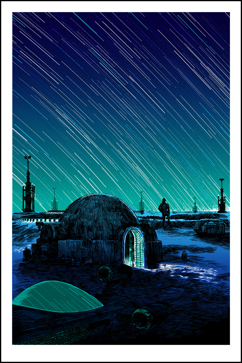 """Saga"" by Tim Doyle.  20"" x 30"" Screenprint w/GID.  Ed of 175 S/N.  $60 (GID Night)"