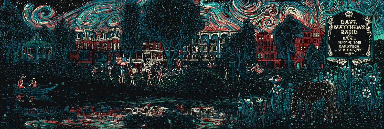 """Dave Matthews Band - Saratoga Springs, NY 2015"" by James R Eads.  12"" x 36"" Screenprint.  AP edition of 80 S/N.  $50"