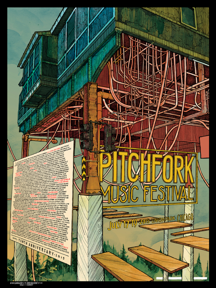 """Pitchfork Music Festival 10th Anniversary 2015"" by Landland x Jay Ryan.  18"" x 24"" 4-color Screenprint.  Ed of 880 S/N.  $30"