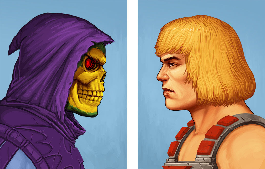 "He-Man / Skeletor Portraits by Mike Mitchell. 12""x16"" screen prints. Hand numbered & Signed. Editions of 165. Printed by Static Medium. Sold separately. $60 each"