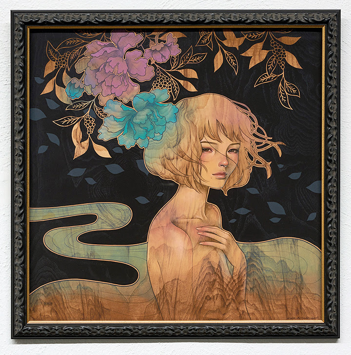 """It Was You"" by Audrey Kawasaki.  21.5"" x 21.5"" Giclee.  Timed edition S/N.  $110 unframed : $390 framed"