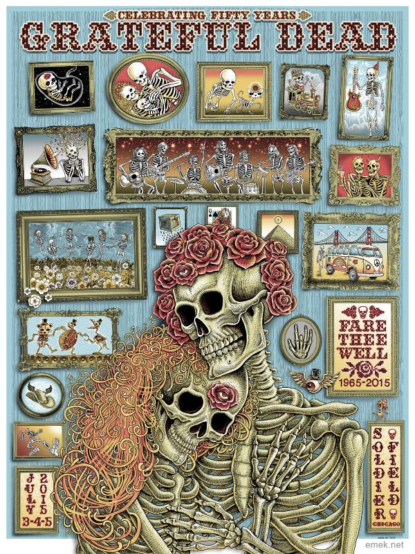 """Grateful Dead - Fare Thee Well 2015"" by Emek.  18"" x 24"" Screenprint.  Artist Edition S/N."