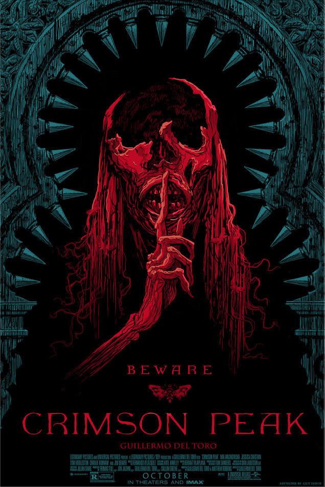 "Crimson Peak by Guy Davis. 24""x36"" screen print. Hand numbered. Edition of 250. Printed by D&L Screenprinting. $45"