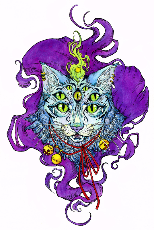 "Lucky Cat: Gouache and ink on Arches cold press watercolor paper, 9x12"", $200"