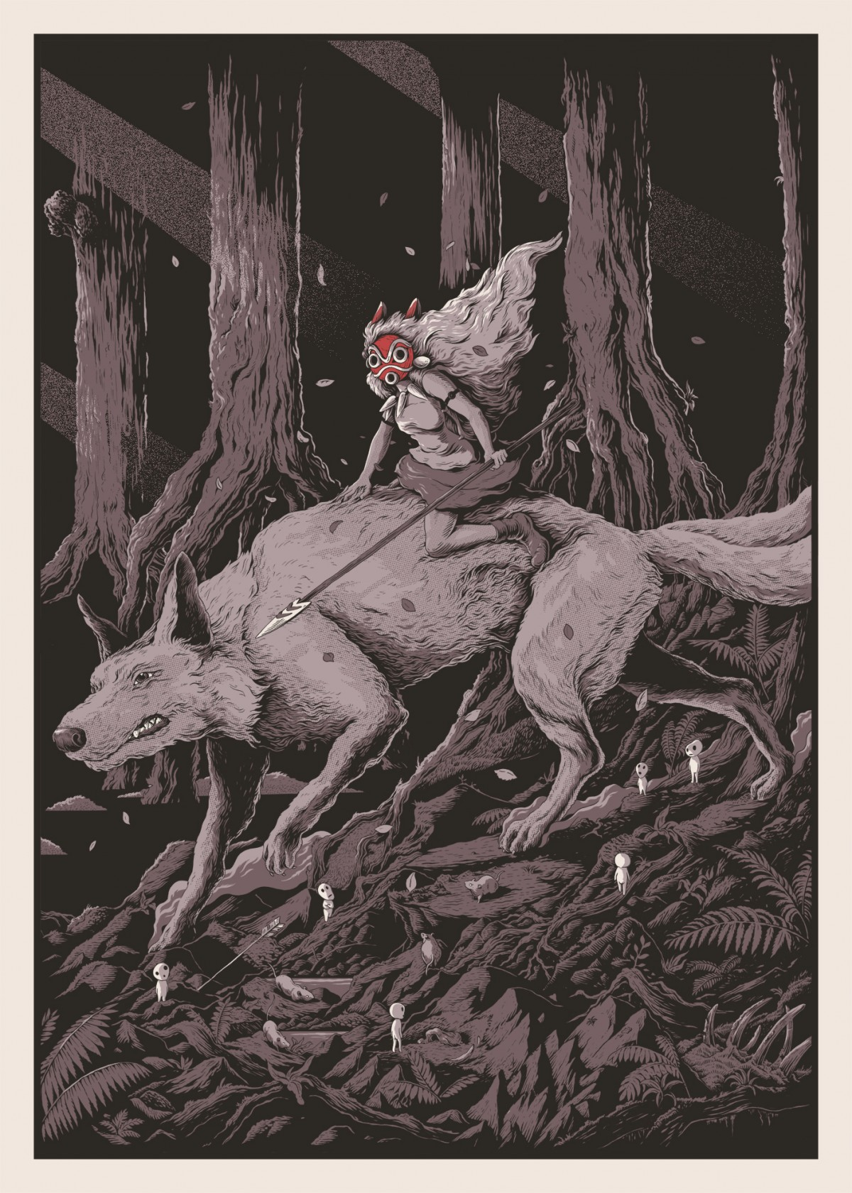 """Princess Mononoke"" by Joe Wilson.  500 x 700mm 4-color Screenprint.  Ed of 200 S/N.  £50 ($78)"