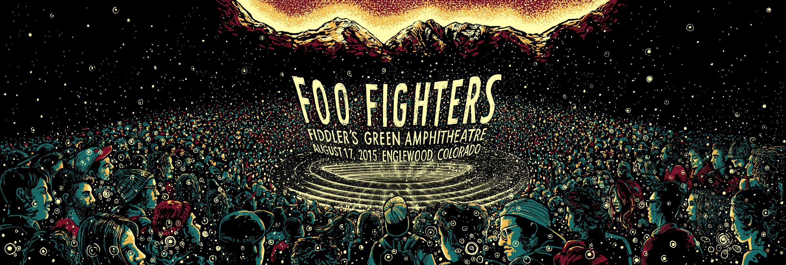 """Foo Fighters - Denver, CO 2015"" by James R Eads.  12"" x 36"" 4-color Screenprint.  AP edition of 75 S/N.  $60"