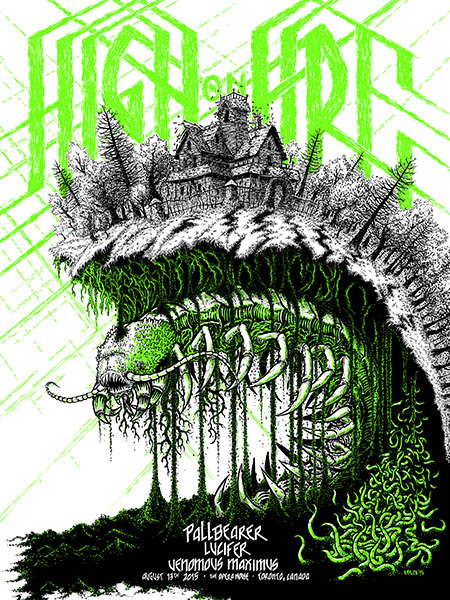 """High On Fire - Toronto, Canada 2015"" by Benjamin Nylen.  18"" x 24"" 2-color Screenprint.  Ed of 70 S/N.  $25"