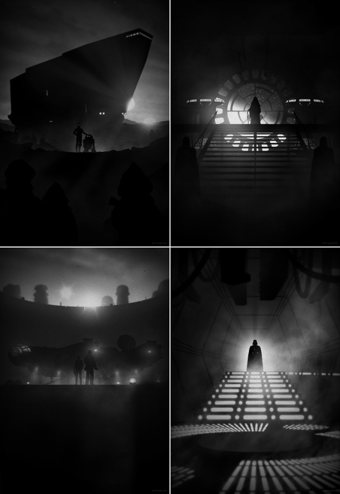 "'Star Wars' by Marko Manev.  (4) 13"" x 19"" Giclees.  Ed of 50 N.  $35 each : $125 set (Noir Variant)"