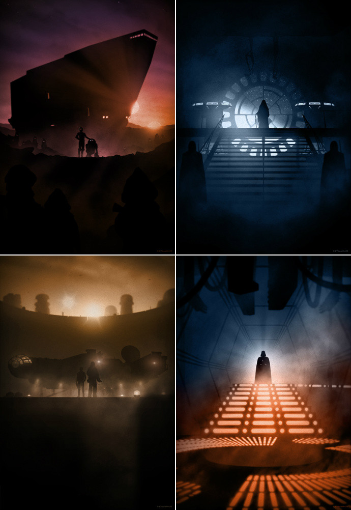 "'Star Wars' by Marko Manev.  (4) 13"" x 19"" Giclees.  Ed of 125 N.  $35 each : $125 set"