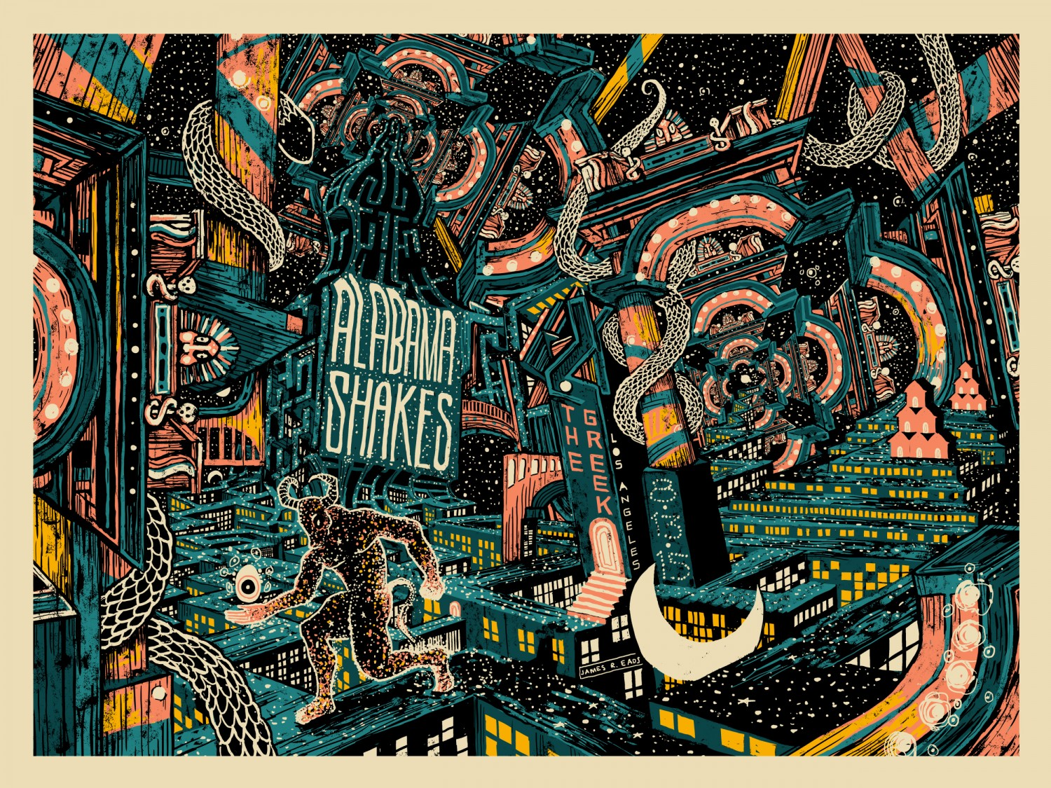"""Alabama Shakes - Los Angeles, CA 2015"" by James R Eads.  18"" x 24"" 5-color Screenprint.  AP edition of 35 S/N.  $50"