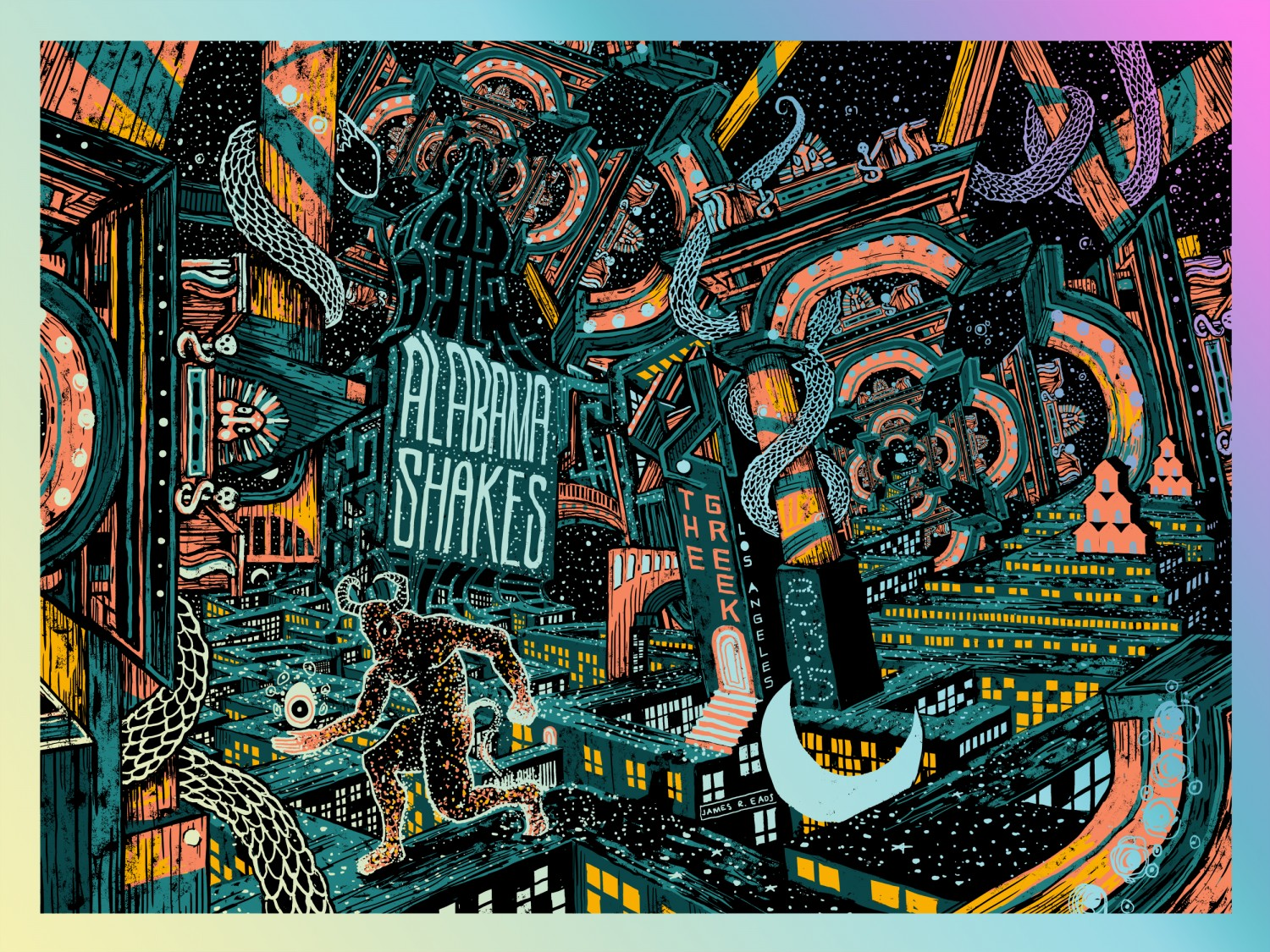 """Alabama Shakes - Los Angeles, CA 2015"" by James R Eads.  18"" x 24"" 5-color Screenprint.  AP edition of 35 S/N.  $100 (Foil)"