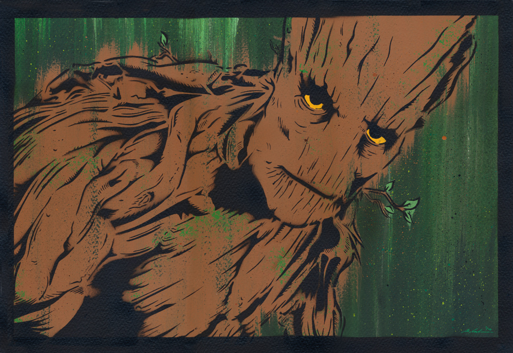 """Groot"" by Michael Latimer.  Stencil/Spraypaint/Acrylic.  Large 30"" x 22"" (Ed of 10 S/N, £65) : Medium 22"" x 15"" (Ed of 10 S/N.  £47)"