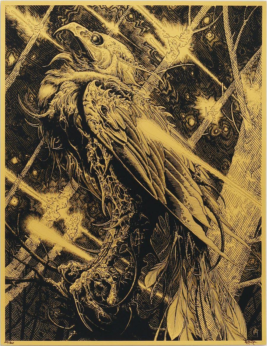 """Phoenix"" by Brandon Holt.  11"" x 14"" Screenprint.  Ed of 20.  $60 (Gold Metallic)"