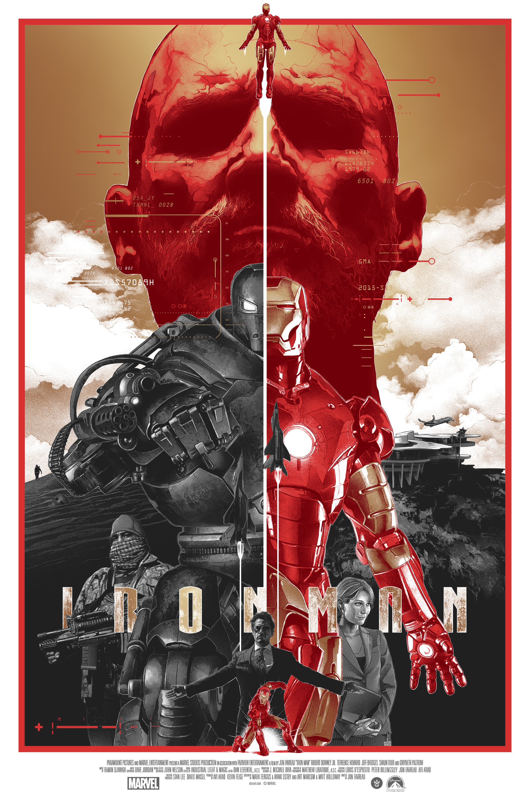 """Iron Man"" by Gabz.  24"" x 36"" Screenprint.  Ed of 125.  $100 (Gold foil variant)"