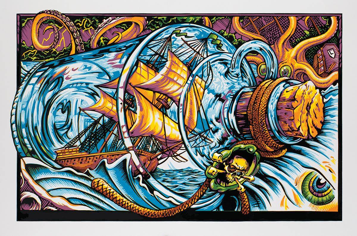 """Ship in a Bottle"" by AJ Masthay.  24"" x 16"" 9-color Screenprint.  Ed of 75 S/N."