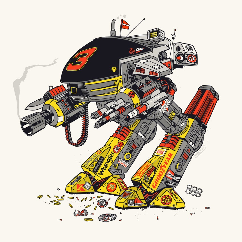 """DALE-209"" by Tyler Stout.  12"" x 12"" 5-color Screenprint.  Timed edition.  $17"