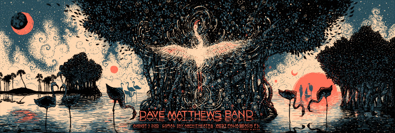 """Dave Matthews Band - West Palm Beach, FL 2015"" by James R Eads.  12"" x 36"" 4-color Screenprint.  Artist edition of 80 S/N.  $60"