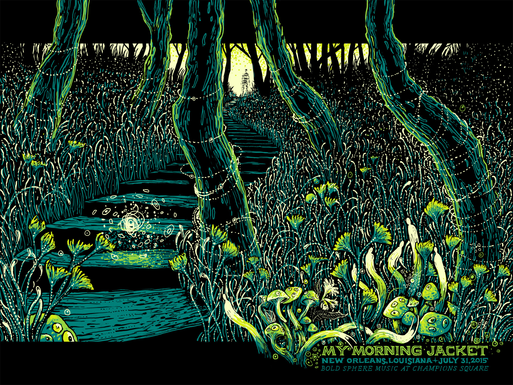 """My Morning Jacket - New Orleans, LA 2015"" by James R Eads.  18"" x 24"" 4-color Screenprint.  Artist edition of 50 S/N.  $40"