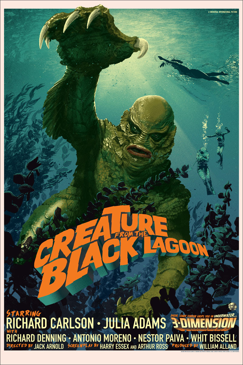"""Creature From the Black Lagoon"" by Stan & Vince.  24"" x 36"" Screenprint.  Ed of 375 N.  $50"