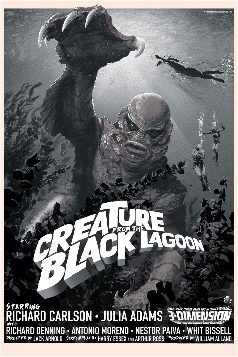"""Creature From the Black Lagoon"" by Stan & Vince.  24"" x 36"" Screenprint.  Ed of 200 N.  $75 (variant)"