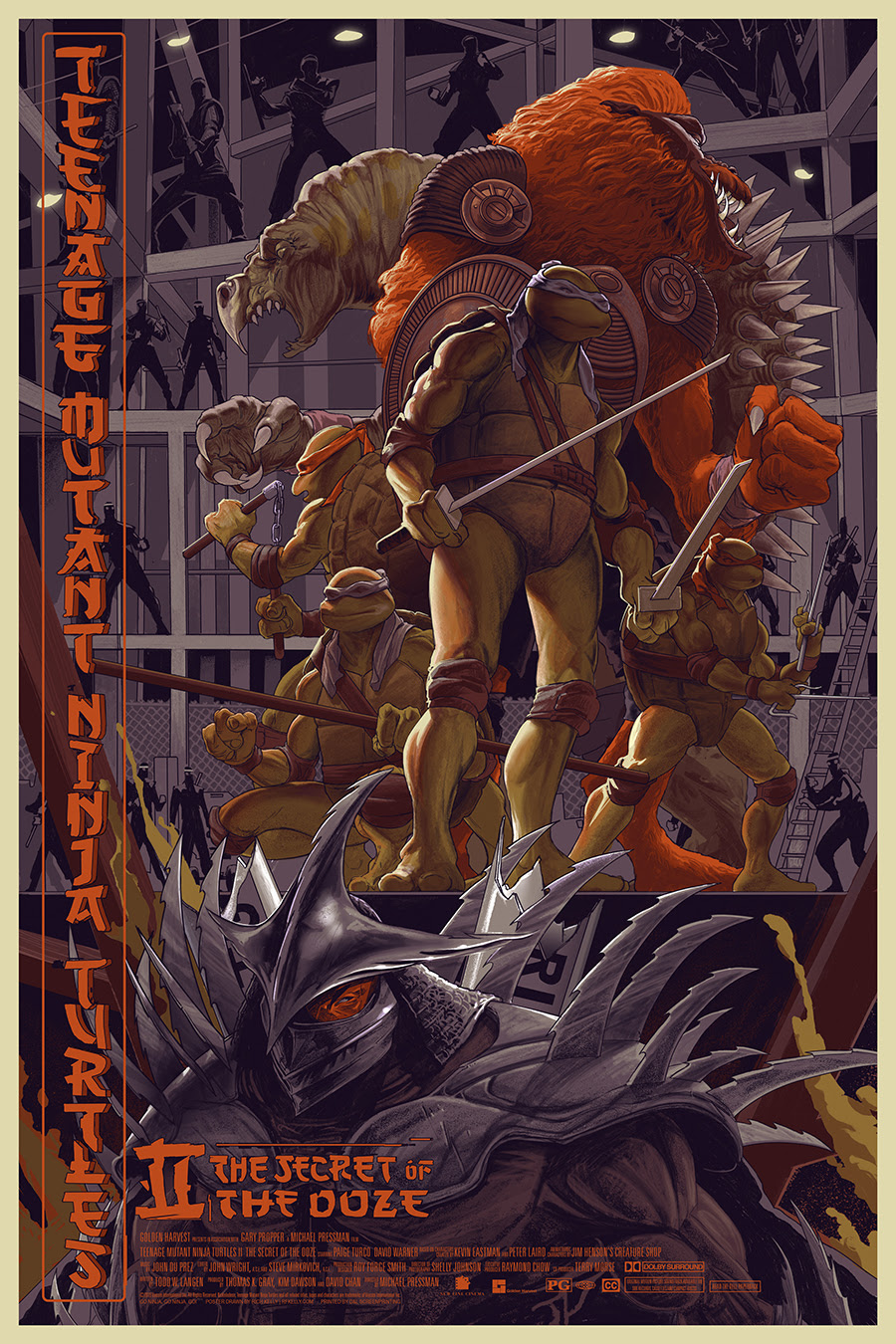 """TMNT II: The Secret of the Ooze"" by Rich Kelly.  24"" x 36"" Screenprint.  Ed of 300 N.  $45"