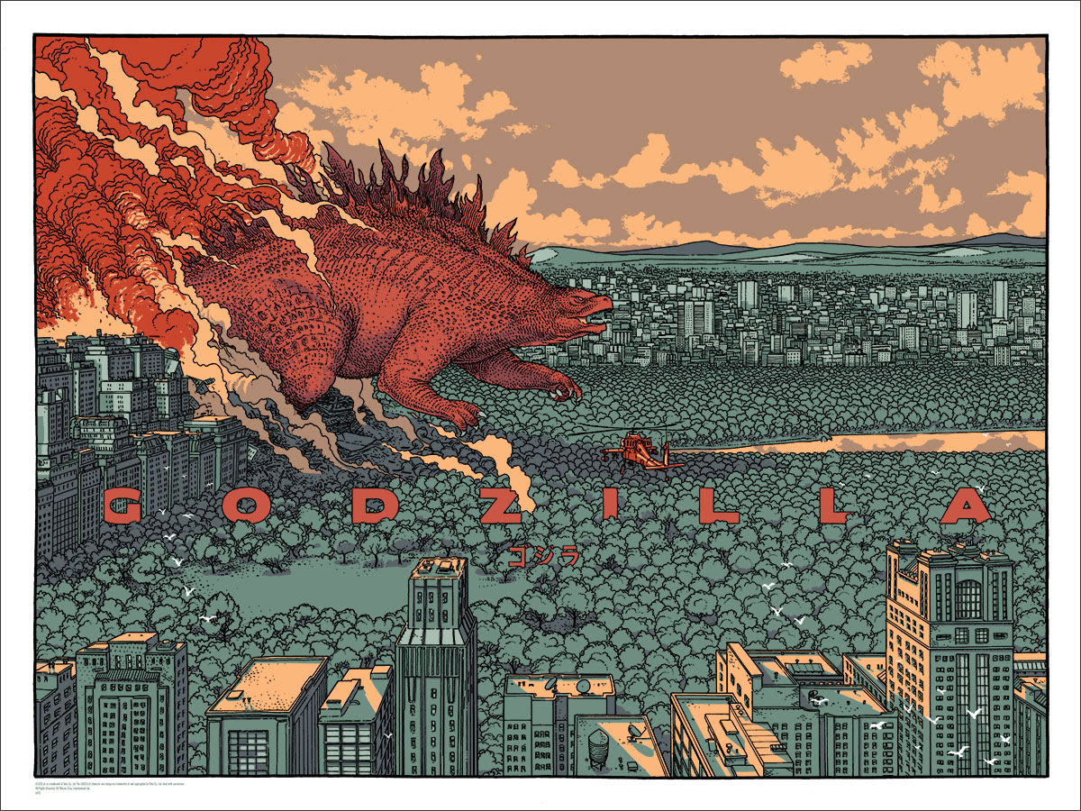 "Godzilla by Jared Muralt. 24""x18"" screen print. Hand numbered. Edition of 300. Printed by D&L Screenprinting. $40"